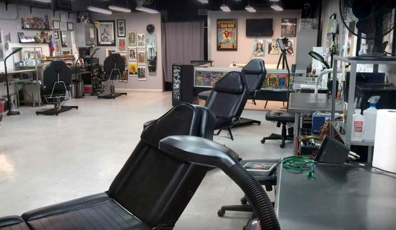 chairs in tattoo studio