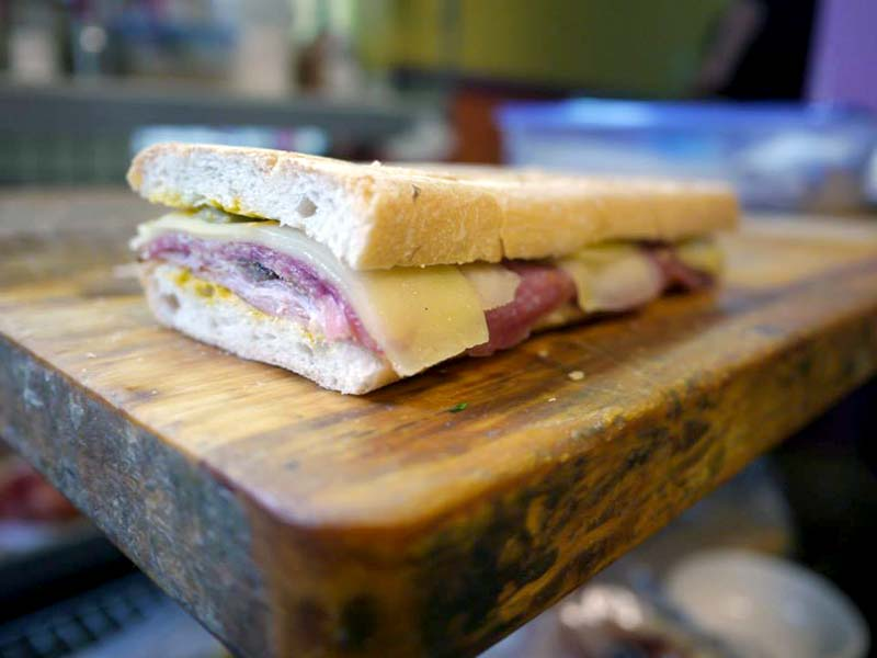 pressed sandwich on table