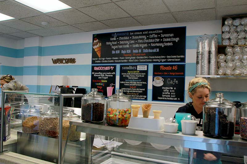 woman behind ice cream counter