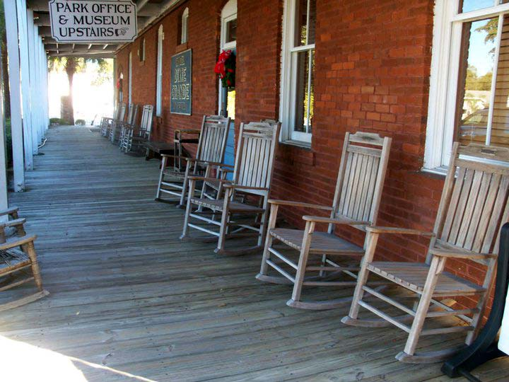 rocking chairs on deck outside