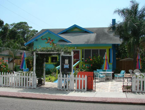 exterior of colorful bungalow