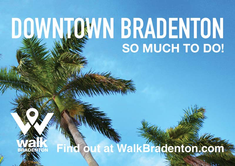 palm trees and sky with walkbradenton.com logo